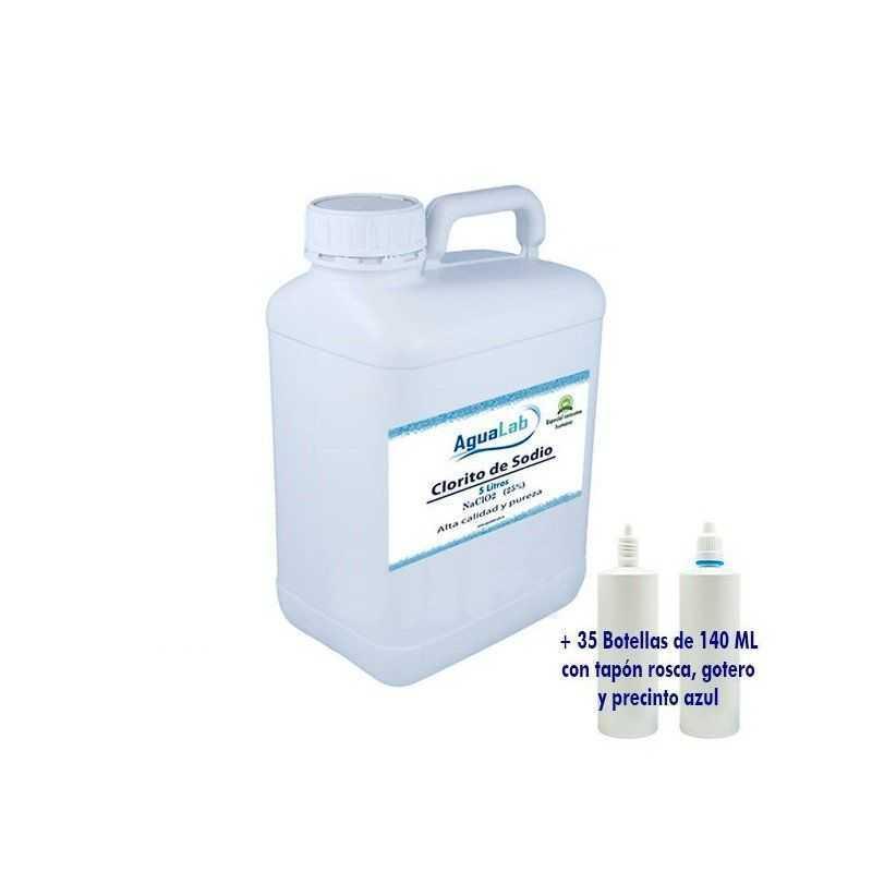 5 Litri + 35 Vasetti da 140ML per grossisti - Clorito di sodio 25% Agualab - 1