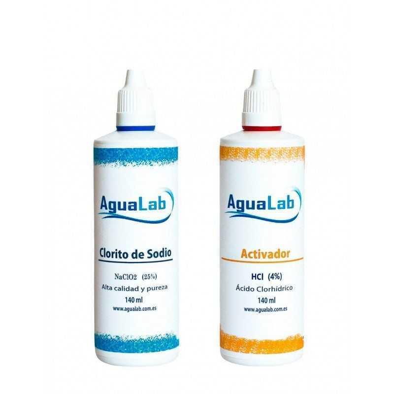 Kit Agualab Clorito Sódico al 25% + Activador Ácido Clorhídrico 4% (140 ml) Agualab - 1