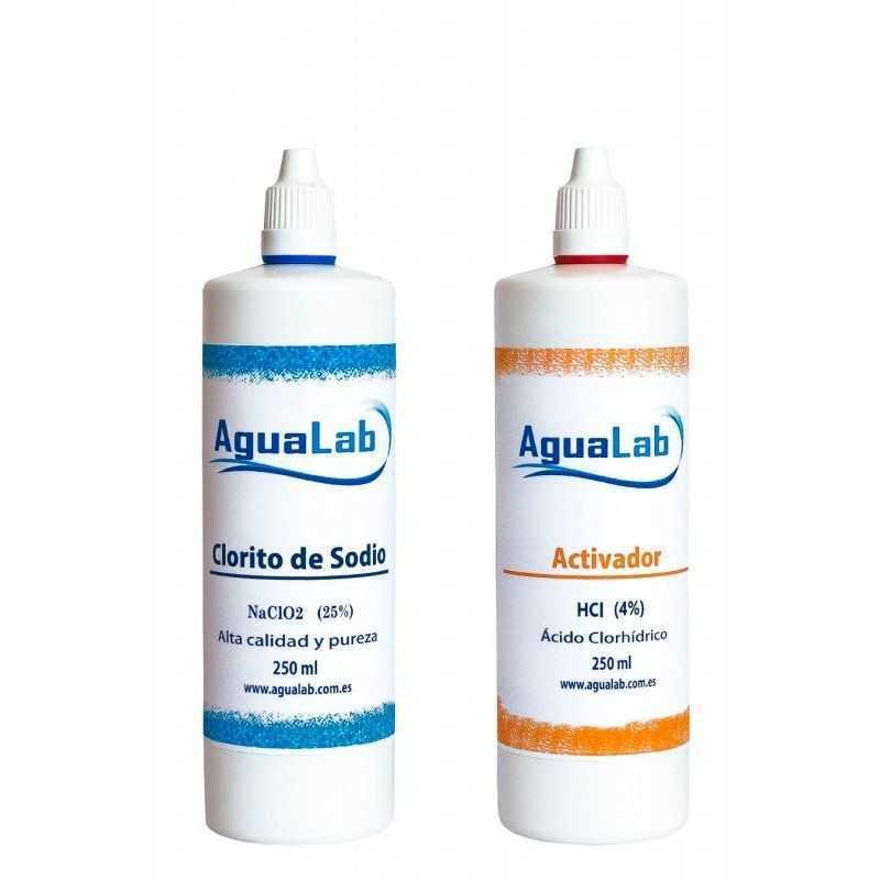 Kit Agualab Chlorite de sodium 25% + Activateur d'acide chlorhydrique 4% (250 ml) Agualab - 1
