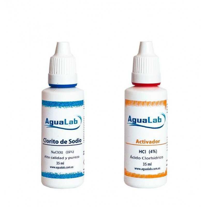 Kit Agualab Clorito Sódico al 25% + Activador Ácido Clorhídrico 4% (35 ML) Agualab - 1