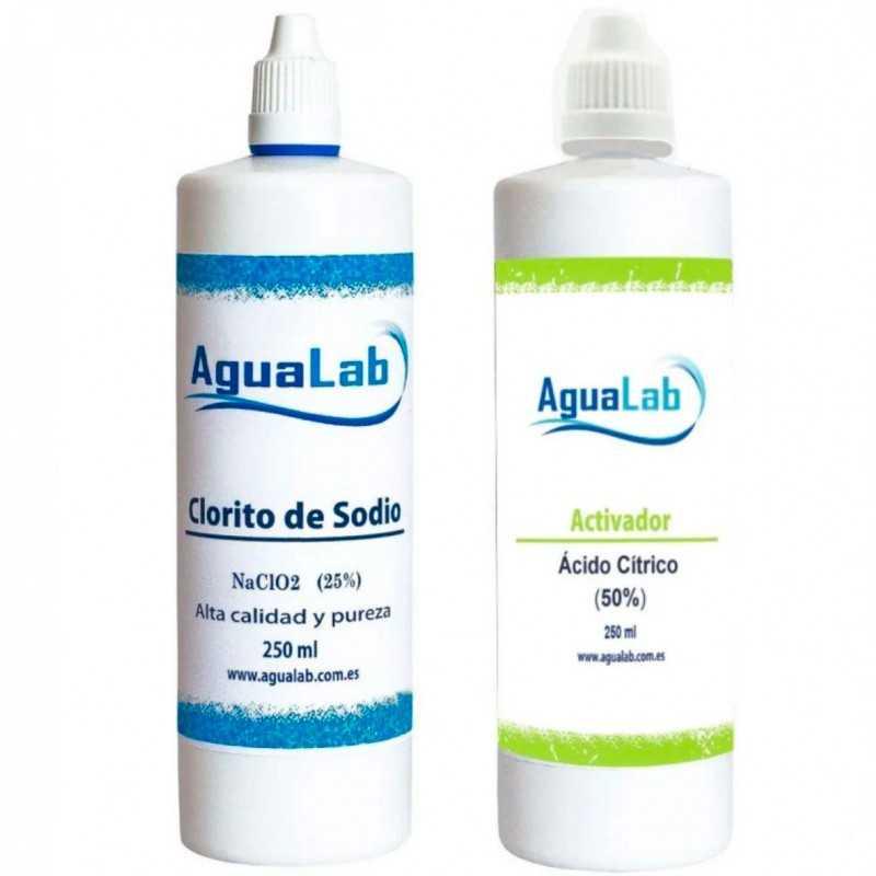 Kit Agualab Acido Citrico 50% e Clorito di Sodio 25% (250 ml) Agualab - 1